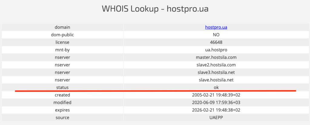 WHOIS Lookup - hostpro.ua