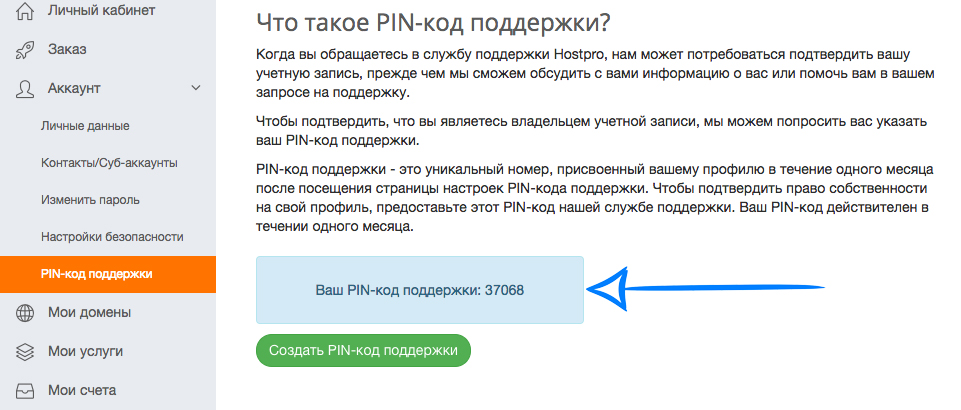 Support, HostPro, PIN, хостинг